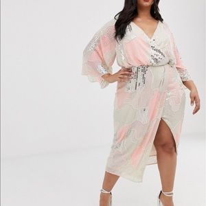 Midi kimono dress in pearl and sequin patched